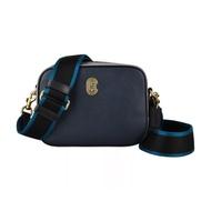 COACH專櫃款金屬LOGO牛皮雙背帶設計拉鍊斜背相機包(午夜藍x灰)