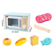 เด็กจำลองครัวของเล่น Macaron ไม้จำลองห้องครัวเครื่องทำขนมปังเครื่องชงกาแฟบ้านของเล่นแกล้งของเล่น