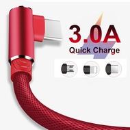 1 M 90 องศาชาร์จข้อมูลประเภท C Micro USB C IOS C สำหรับ Samsung Huawei Xiaomi Type-C Apple Lighting ยาวสายโทรศัพท์