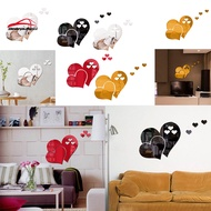 New Home Wallpaper Heart Shaped Mirror Wall Stickers Creative Mirror Stickers Background Wall