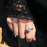抖音同款旋轉戒指網紅食指韓版時尚個性指環轉運珠小眾設計尾戒女1入