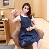 UY17040506 寬版牛仔背心裙 卡通刺繡腰綁帶藍色無袖牛仔連身裙 UY17040506