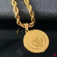 ┅☁St Benedict necklace for men kwintas religious gold plated