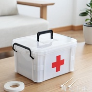 家用醫藥箱藥收納盒大容量分層格透明手提家庭箱藥品小急救箱  晴光小語