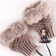 USB電熱手套 新冬季女毛絨保暖USB充電寶電熱電取暖手套辦公加熱抖音網紅手套