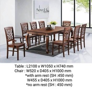 Q 10 Solid Wood 1+8 Dining Set / Solid Wood 8 Seater Dining Table Set / Solid Wood Dining Table With 8 Chairs / Solid Wood Dining Set (TCK)