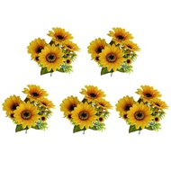 Loviver 5Pcs ดอกไม้ตกแต่งประดิษฐ์ดอกทานตะวันสีเหลืองสำหรับประดับตกแต่งอินดอร์และเอาท์ดอร์