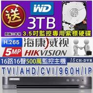 海康威視 H.265 500萬 16路16聲 監控主機  5MP  DVR 監視器 1080P  960H 送3TB硬碟