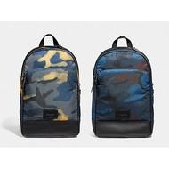 COACH 37607 藍/黃迷彩 尼龍材質 後背包 電腦包 公事包 雙肩包-現貨在台