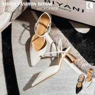 รองเท้าคัชชู รุ่น biyani ปลายส้นเปิด หัวแหลม ส้นสูง 6 เซนติเมตร รองเท้าแฟชั่น หนังนิ่ม ส่งจากไทย cheapy2shop