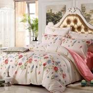 momayshops -0035ชุดผ้าปูที่นอน5ฟุต 5ชิ้นพร้อมผ้านวมหนา 6ฟุตสีครีม ลวดลายดอกไม้นาๆพันธุ์