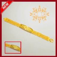 สร้อยข้อมือทองไมครอน ชุบไมครอน 5ไมครอน ลายเลสมังกรตรงกลาง น้ำหนัก 2 บาท ความยาว 18 เซนติเมตร ราคา 450 บาท