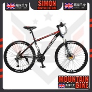 England Order (raleigh) Mountain Bike 24/27/30/33 Disc Brakes Shock Unisex Student Fitness Off-road Racing 27 Super High Carbon Steel Black Red Spoked Wheel 24-inch