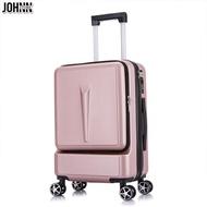 Johnn กระเป๋าเดินทางด้านหน้าเปิดกระเป๋าลากกระเป๋าเดินทางหญิง 20 นิ้วผู้ชายการขึ้นเครื่องบินธุรกิจกระเป๋าล้อลากสากล [คลังสินค้าพร้อม-คุณภาพสูง]
