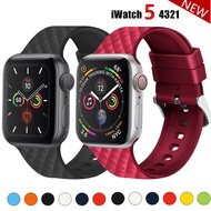 Silicone Strap for Apple watch band 44mm 40mm i watch band 38mm 42mm Rhombic pattern belt bracelet Apple watch series 3 4 5 se 6