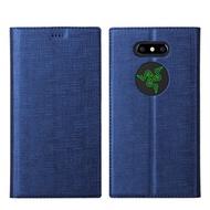 雷蛇二代 Razer Phone 2 手機殼 保護套 防摔 拉絲布紋 連翻軟皮套 保護殼 磁吸悠遊卡素色 雷蛇2 全包邊