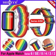 Newest Rainbow Nylon Strap สายนาฬิกาข้อมือ สำหรับ Apple Watch 6 5 SE Band 40mm 44mm Sport Nylon Loop Bracelet Belt Wrist band i Watch 3 2 1 42mm 38mm Watch Strap For apple watch Series 6/SE/5/4/3/2/1