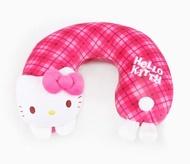 Hello Kitty 美國版頭墊頸枕-格紋,絨毛/填充玩偶/旅用/公仔/頸枕/靠枕/枕頭,X射線【C100815】