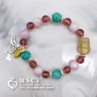  MSCV 鈦晶貔貅 x 天河石 x 紫鋰輝 x 草莓晶 x 貴人運 x 改變運勢 x 提高毅力 x 天然水晶手鍊
