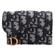 Dior Saddle系列經典OBLIQUE緹花布小牛皮飾邊暗釦信用卡夾/零錢包(藍色)