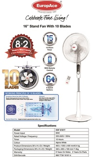 EuropAce 16 Stand Fan with 10 Blades ESF 6161T