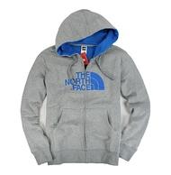 美國百分百【全新真品】The North Face 男 灰色 連帽外套 帽T 藍logo 棉質 休閒 M XL號 免運