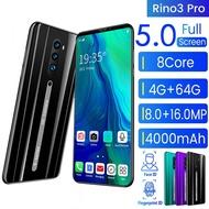 【BISA COD】【handphone promo】O rino3 hp murah 500 ribuan RAM 4G + 64G ROM 5.0INCH Smart phone Android 9.1 Face Recognition Unlocked 16MP Mobile Phones Rino3 hp murah 500 ribuan