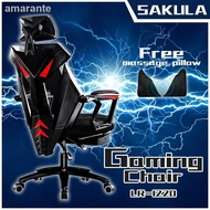 The latest version of 2021❡Sakula Gaming Chair Office  Adjustable Ergonomic with footrest (BLACK)