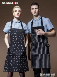 廚師圍裙韓版男女廚房做飯圍腰家居半身圍裙短服務員工作圍裙定制