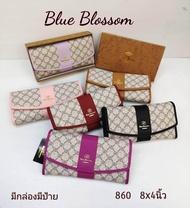 """กระเป๋าแบรนด์แท้ Blue blossom กระเป๋าสตางค์ใบยาว8""""สูง4""""สีม่วงอ่อน สินค้าตามภาพพร้อมส่ง"""