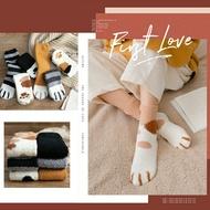 萌系貓爪珊瑚絨中筒襪(一組三雙)★愛麗絲生活購物★M0793