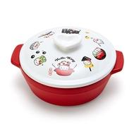小禮堂 Hello Kitty 雙耳耐熱陶瓷鍋 附蓋 土鍋 沙鍋 湯鍋 燉鍋 1000ml (紅 陶器餐廚)