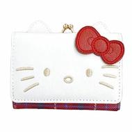 小禮堂 Hello Kitty 造型耳朵皮質口金短夾《紅白.大臉》零錢包.皮夾.皮包