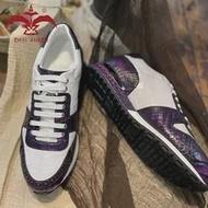 Cest พจนานุกรม100% Cro จระเข้รองเท้าหนังผู้ชาย Lady รองเท้าผ้าใบ Patina สีม่วงสีขาว Handmade รองเท้าที่กำหนดเอง...