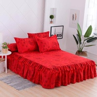 Colorful Fitted Sheet Bed Mattress Cover Bed Cover with Elastic Band Mattress Protector with Pillowcase 3pcs King Queen Size