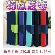 美人魚【韓風雙色】糖果手機 SUGAR C13 5.93吋 翻頁式側掀插卡皮套/保護套/支架斜立