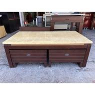 香榭二手家具*胡桃木底4尺 花紋大理石大茶几(含兩張輔助椅)-茶几桌-矮桌-泡茶桌-沙發桌-客廳桌-置物桌-矮凳-邊几