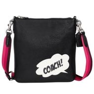 COACH黑色雲朵對話框圖印全皮方扁小款斜背包