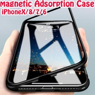 Magnetic Adsorption Cases for iPhone X Tempered Glass Back Cover+Metal Frame Build-in Magnet Case Co