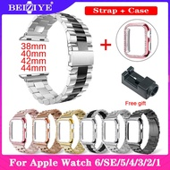 สายนาฬิกา Case + Stainless Steel Strap For Apple Watch Series 5 4 40mm 44mm สาย Metal Smart Watchband Bracelet Strap ทุกซีรีย์ for apple Watch Band 38mm 42mm Series 3 2 1 ดูกรณี Watch Accessories