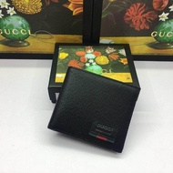 Genuine_Gucci men's short leather folding wallet new leather wallet