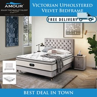 AMOUR BRAND QUEEN SIZE / KING SIZE VICTORIAN UPHOLSTERED VELVET BED FRAME/10 YEARS WARRANTY
