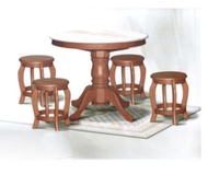DN788 Round Marble Dining Table (3Ft) + 4 Stools Set / Dining Table