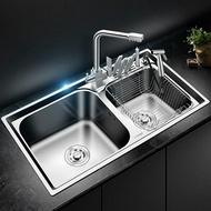 廚房304不銹鋼水槽洗菜盆洗碗盆雙槽套餐大雙槽 ATF 名購居家