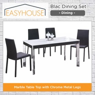 Blac Dining Set   Dining   Marble Table Top with Chrome Metal Legs