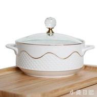 陶瓷碗菜盤雙柄泡麵碗 飯盒保鮮碗麵杯廚房大號帶柄有玻璃蓋湯碗 KV409 『樂活旗艦店』
