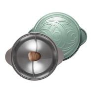 【NEOFLAM】陶瓷不沾鑄造28公分鴛鴦鍋含玻璃蓋(IH適用) - 丹麥粉/丹麥綠