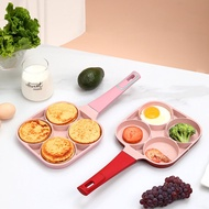 NEW 4 Hole Omelet Pan (Pink) Induction Cooker Cooking Tool for Breakfast Non-stick Ham Wooden Handle Suitable For Gas Stove