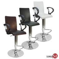 【LOGIS】御用曲木皮墊扶手高吧椅/洽談椅/電腦椅(黑/白/棕)