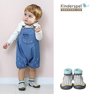 【Kinderspel】套腳腳襪型學步鞋-13CM(薄荷條紋灰)